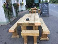 RAILWAY SLEEPER TABLES AT THE OLD VOLUNTEER, CAYTHORPE.