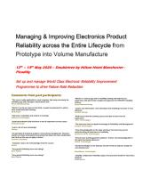 Manchester Reliability Seminar - Discounts Available