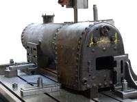 Sectioning a steam locomotive boiler