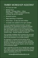 Join Our Team! Timber Workshop Assistant Required