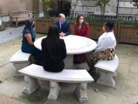 Duke and Duchess of Cambridge Hold a Meeting with NHS Staff around a Chilstone Engraved Table at St Barts Hospital.
