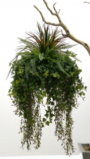 ALL GREEN FOLIAGE ARTIFICIAL HANGING BASKET