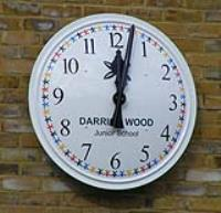 Pupil wins replica clock for designing a new large exterior clock for Darrick Wood school.