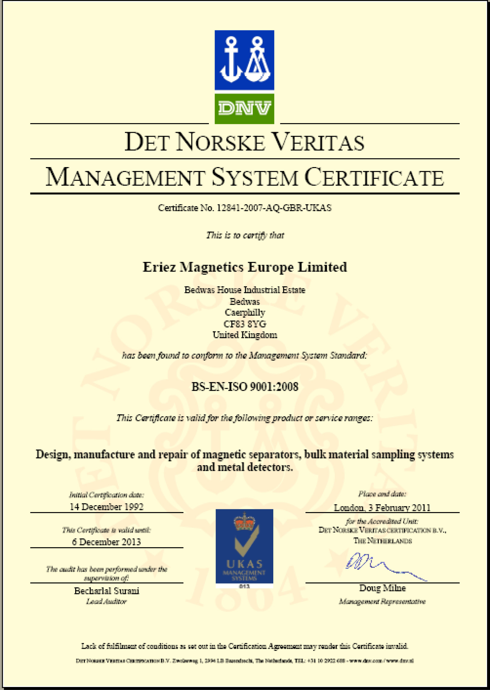 Eriez Achieves Re-certification of ISO 9001:2008 Quality Standard
