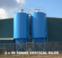 2 x 50 Tonne Vertical Silos with Load Cells, Silo Safety System & Aeration Nozzles