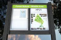 """""""Green"""" notice board for Forest School."""