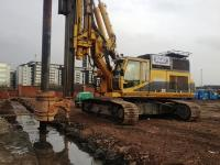 RTG RG21T installing cut off wall using SMW triple paddle soil mixing techniques in Leeds
