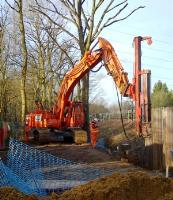 Latest hire fleet addition - Fambo HR2750 impact hammer back driving sheet piles in Hertfordshire