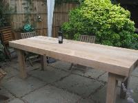Massive banqueting table from new oak railway sleepers