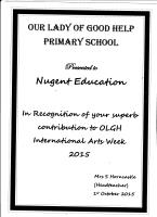 Thank You Certificate for Nugent Education Limited SCHOOL MURAL PROJECT