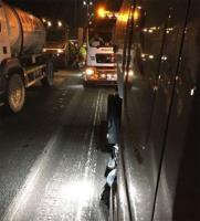 T&M water bowser in action with Munihire on the M4 for resurfacing works