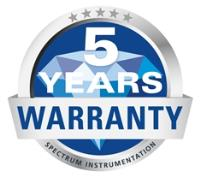 Spectrum digitisers, waveform generators and digital I/O products now come with a 5 year warranty!