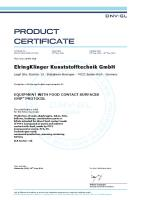 ElringKlinger Kunststofftechnik achive GMP certificate. Process reliability for our food industry customers
