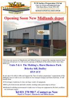 Opening Soon New Midlands Depot