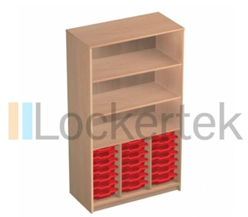 21 Tray Classroom Storage Open Cupboard With 3 Shelves