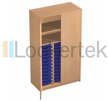 36 Tray Classroom Storage Cupboard With 2 Shelves