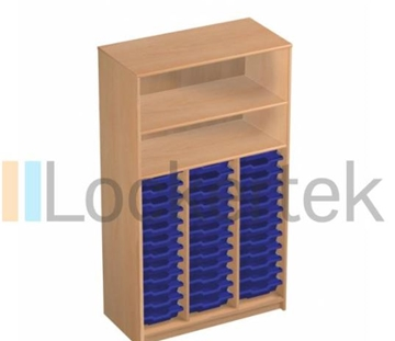36 Tray Classroom Storage Open Cupboard With 2 Shelves