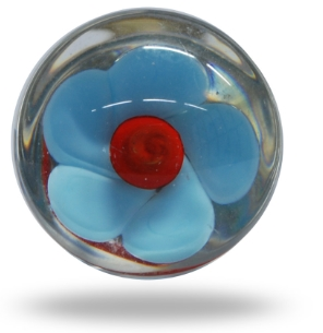 Glass Mendip Blue and Red Flower Knob