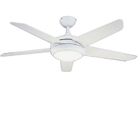 "Global 52"" Neptune Ceiling Fan In White Complete With Halogen Light And Remote Control"
