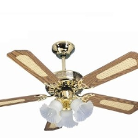 "Global San Diego Polished Brass 42"" 3 Light Ceiling Fan With Reversible Oak And Cane/Mahogany Blades"