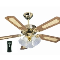 "Global Santa Monica Polished Brass 42"" Ceiling Fan With 3 Lights And Remote Control"