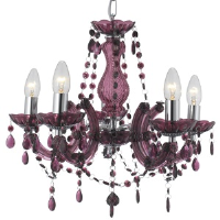 Searchlight 699-5PL Marie Therese 5 Light Blackcurrant Colour Chandelier
