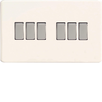 Varilight XDQ96S 6 Gang 10A 1 Or 2 Way Rocker Switch (On A Twin Plate)