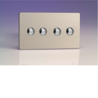 Varilight iDSS004S 4 Gang Slave For Remote Control / Touch Dimmer (Twin Plate) In Brushed Steel