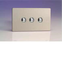 Varilight iDSS003S 3 Gang Slave For Remote Control / Touch Dimmer (Twin Plate) In Brushed Steel