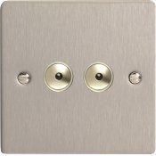 Varilight iFSi402M 2 Gang 400W 1 Way Remote Control / Touch Dimmerswitch In Brushed Steel