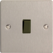 Varilight XFSBPB 1 Gang 10A Retractive Switch In Brushed Steel With Black Insert