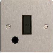 Varilight XFS6UFOB 13A Unswitched Fused Spur In Brushed Steel With Flex Outlet With Black Insert