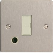 Varilight XFS6UFOW 13A Unswitched Fused Spur In Brushed Steel With Flex Outlet With White Insert