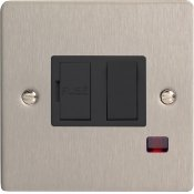 Varilight XFS6NB 13A Switched Fused Spur In Brushed Steel With Neon & Black Insert