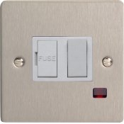 Varilight XFS6NW 13A Switched Fused Spur In Brushed Steel With Neon & White Insert