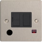 Varilight XFS6FONB 13A Switched Fused Spur In Brushed Steel With Neon & Flex Outlet With Black Insert