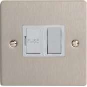 Varilight XFS6W 13A Switched Fused Spur In Brushed Steel With White Insert