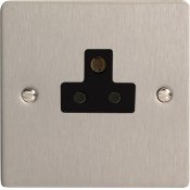 Varilight XFSRP2AB 1 Gang 2A Round Pin Socket In Brushed Steel With Black Insert