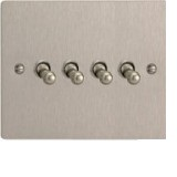Varilight XFST4 4 Gang 10A 1 Or 2 Way Toggle Switch In Brushed Steel