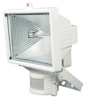 500W Floodlight With PIR In White