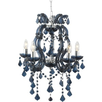 Searchlight 3805-5AZ Marie Therese 5 Light Blue Colour Mini Chandelier Fitting