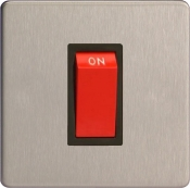 Varilight 45A Cooker Switch (Single Plate) In Brushed Steel With Black Insert XDS45SBS