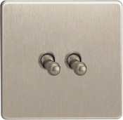 Varilight 2 Gang 10A 1 Or 2 Way Toggle Switch In Brushed Steel XDST2S