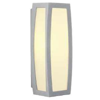 SLV Lighting 230044 Meridian Box IP54 Outside Wall Light In Silver Grey