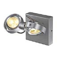 SLV Lighting 147771 Kalu II LED 2x3 Indoor LED Wall Light In Brushed Aluminium With White LED's