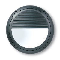 16w 2D High Frequency Mini Bulkhead Eyelid Fitting In Black With Louvre Attachment