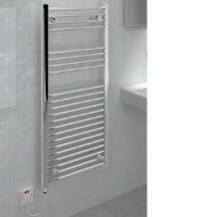 Kudox KTR250FLATCH Flat Liquid Filled Electric Ladder Towel Rail In Chrome