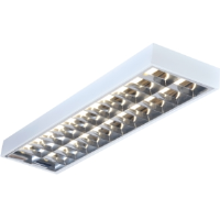 4' Twin Surface High Frequency Emergency Version T8 Modular Light Fitting With A Cat2 Louvre