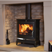 Flavel Rochester 7 Multifuel Wood Burning Stove Polished Chrome Trim FCSSB