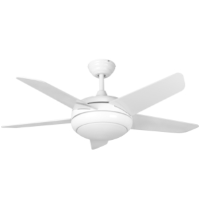 """44"""" Neptune Ceiling Fan In White With Remote Control And LED Light"""